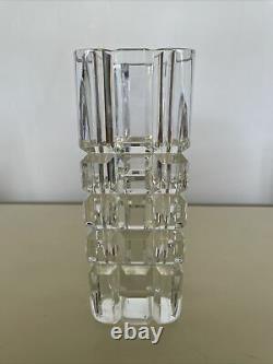 Orrefors Heavy Cut Crystal Vase Tullgarn Pattern Palmqvist Sleek Modern Design