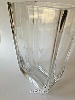 Orrefors Landberg Crystal Vase Etched Cutting Woman Birds Signed Sweden 8 Glass