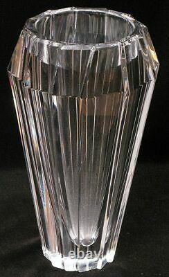Orrefors Sweden Brilliant Diamond Faceted Cut Crystal Vase Signed Hefty & Solid