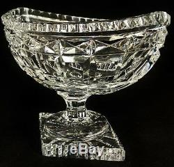 PAIR Antique 19th C FRENCH Baccarat Quality CUT CRYSTAL Coupe Vase CENTERPIECE