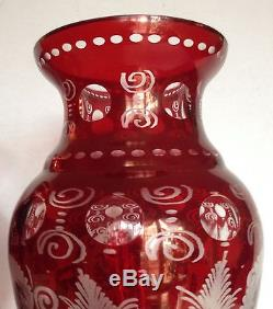PAIR Antique Bohemian Castle Crystal Glass Ruby Cut to Clear Vases Large 12