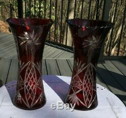 Pair 2 Vintage Bohemian Czech Art Glass Cut To Clear Red Ruby Crystal Vase