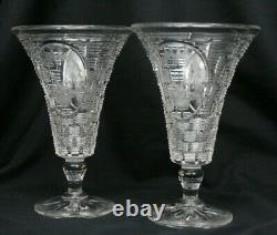 Pair Antique Signed HAWKES Footed Cut & Engraved Crystal Vases