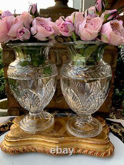 Pair Of Antique English Cut Glass Crystal Vase Urn Georgian