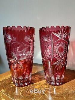 Pair Of Lausitzer Hand Cut Crystal Cranberry Sawtooth Mantle Vases 8.5 Bohemian