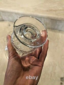 Pair Vintage Hand Cut Crystal Urn Shaped Vases 5-3/4