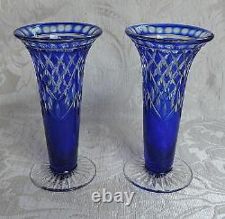 Pair of Bohemian Blue Cut to Clear Glass Vases Vasi cristallo blu, Boemia c1960