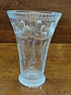 Pair of SIMON GATE Orrefors Art deco Vases satin cut light blue art glass, 1920s