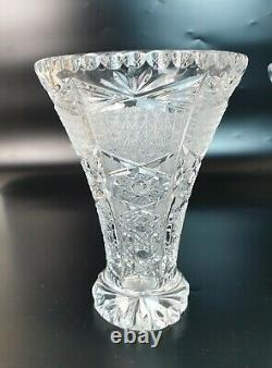 Pair of Vintage Bohemia Czech Crystal Small Flower Vase Hand Cut Corset Design