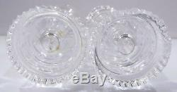 Pair of William Yeoward Crystal Cut Glass Castle Turret Candle Holders Vases