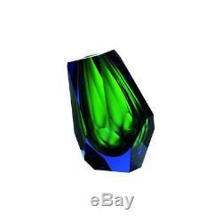 Pear Vase Mini Aquamarine Reseda Moser Mouthblown Hand-cut Crystal Glass H5'