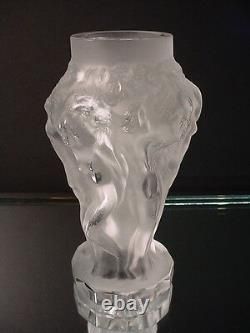 Pr Bohemian Cut Crystal Sculptured Glass Satin Grape Harvest Nude Vases Art Deco