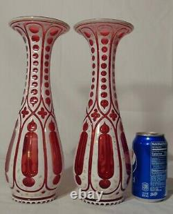 Pr. Cranberry Ruby Bohemian Moser Cut to Clear White Crystal Vases Cased Glass