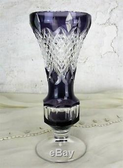 Purple Cut to clear Crystal Vase Val St Lambert Medici Marked Extremely Rare