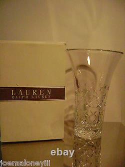 RALPH LAUREN HOLLYWOOD HILLS CRYSTAL VASE & GLASS With VOWS FRAME WEDDING SET