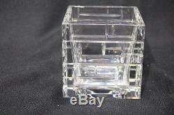 RARE Baccarat Modern Cut Crystal ESPALIER Brick Pattern 4.5 Cube Vase, France