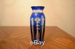 RARE Vtg VAL SAINT LAMBERT Belgium Cobalt Blue Cut To Clear Crystal Vase 8 1/4