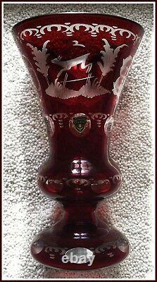 RUBY RED Stained Vase Glass CUT TO CLEAR CRYSTAL Bohemian German DEER & GROUSE