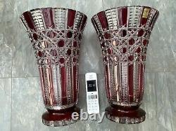 Rare 5kg Heavy 14 Cut Clear Ruby Vase Czech Bohemia Ceasar Crystal Hobnail Mint