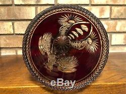 Rare Antique Cut Crystal Ruby Red Art Glass Polish Eagle Trumpet Vase 12 3/4