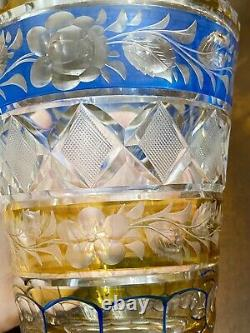 Rare Antq 2 Color Amber & Blue Cut To Clear Crystal Vase Intaglio Roses
