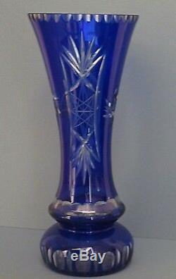 Rare Bohemian Crystal Pinwheel Cut To Clear Cobalt Blue Vase-14 Tall