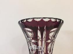 Rare Bohemian Hand Cut Purple to Clear Crystal Vase, 12 3/4 Tall x 4 1/3 Dia