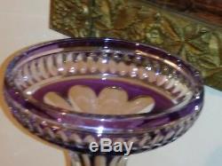 Rare! Large Czechoslovakian Amethest Cut Crystal Vase
