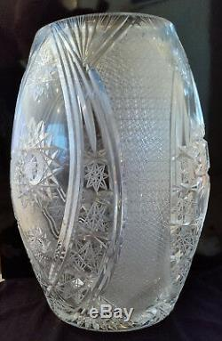 Rare Rare 3 Piece Extra Large Lead Crystal Cut Glass Vases 44 Inches Tall