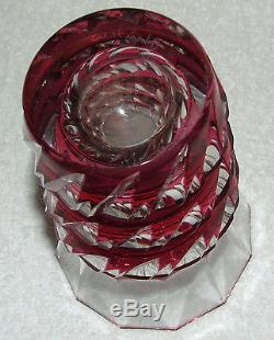 Rare Signed Val St Lambert Cranberry Cut To Clear Crystal 6 Deco Vase Belgium