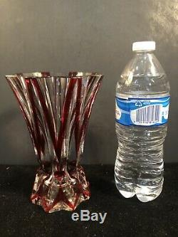 Rare St. Louis French Crystal Ruby Cranberry Cut-To-Clear Vase Mint Condition