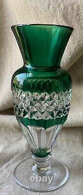 Rare Val Saint Lambert vintage hand cut to clear green glass crystal vase 1920