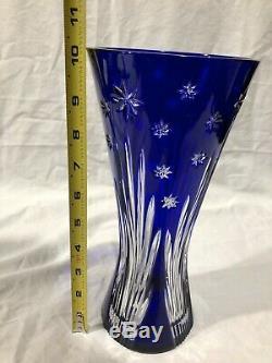 Rare Vintage AJKA Design Guild Thick Cobalt Blue Cut Crystal Vase 10.1/4 Marked