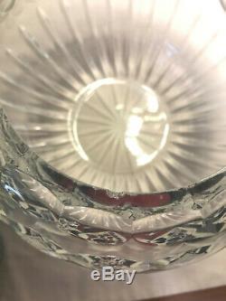 Rare Vintage Cut & Etched, Lead Crystal Rose Bowl, Rose Pattern, Large, 8 1/2''D