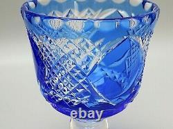 Rare Webb Corbett Crystal Cut To Clear Cobalt Blue Vase 7 3/4 Tall