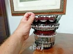 Rare hand-cut crystal vase signed Val St Lambert