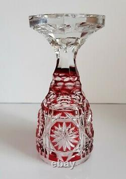 Rarity Ajka Red Cased Cut To Clear Lead Crystal Small Chalice / Futed Vase