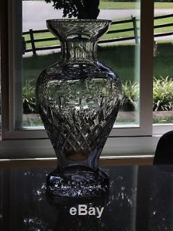 Rogaska GALLIA Elegant Lead Crystal Cut Glass Large 13 1/2 Flower Urn Vase HUGE