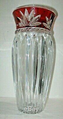 Ruby Red To Clear Cut Crystal Glass Vase, Heavy 11-3/4 Tall, Free Shipping