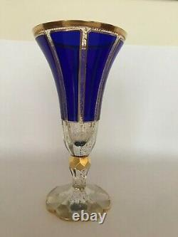 Rückl Crystal Panel Cut Vase, Cobalt Blue Glass, Gilded Bohemian Vase