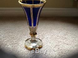 Ruckle Crystal Panel Cut Vase, Cobalt Blue Glass, Gilded Bohemian Vase