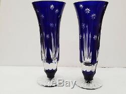 SET OF 2 Vintage Bohemian Crystal Cut To Clear Cobalt Blue 8 Vase / GLASS