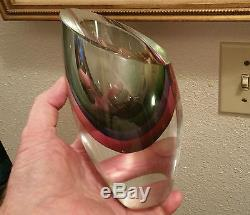 SOMMERSO murano art glass vase cut crystal italian sculpture geometric vtg geode