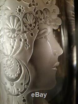 STUNNING Art Nouveau Inspired Alphonse Mucha HAND CUT HAND Engraved Crystal Vase