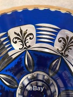 STUNNING COBALT CUT-TO-CLEAR MOSER BOHEMIAN 10 3/8ENAMELED CRYSTAL VASE, c. 1900