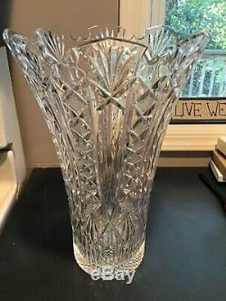 STUNNING LARGE HEAVY VINTAGE 15 Waterford CUT CRYSTAL VASE in MINT CONDITION