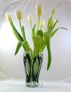 Saint Louis France Crystal Art Deco 1930-1940's Green cut to Clear 7 4 Vase