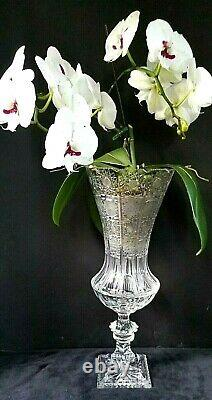 Signed 19 Tall Bohemian Czech Crystal Vase Urn Hand Cut Queen Lace