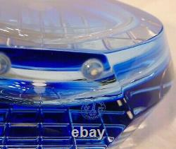 Signed Baccarat French Crystal Blue Cut Glass Neptune Vase 7 3/8