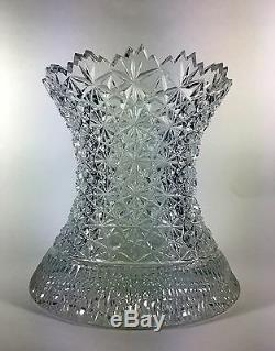 Signed Cut Crystal Vase Buttons and Daisies